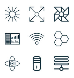 Set of 9 robotics icons includes wireless vector