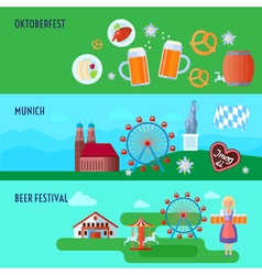Set of flat horizontal German Oktoberfest beer vector