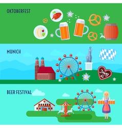 Set of flat horizontal German Oktoberfest beer vector image