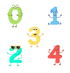set of funny characters from numbers vector image vector image
