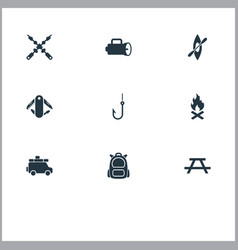 Set of simple outdoor icons vector