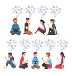 set people sitting on floor with digital vector image