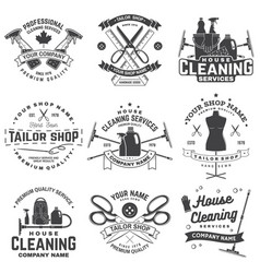 set tailor shop cleaning company badges vector image