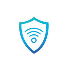 shield icon wifi sign protectoin sign flat design vector image