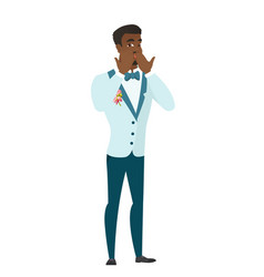 Shoked african-american groom covering his mouth vector
