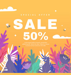 spring sale banner with flowers on orange backdrop vector image