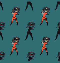 Superhero woman seamless pattern vector