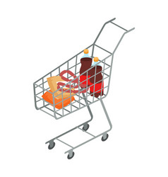 supermarket trolley with food isometric vector image