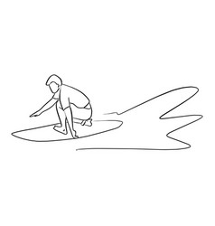 surfer with surfboard on the wave vector image
