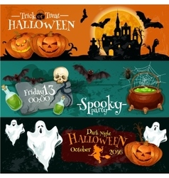 Traditional Halloween invitation banners with text vector