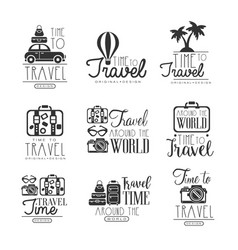 travel around the world set for label design vector image