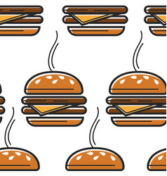 usa fast food burger seamless pattern street meal vector image