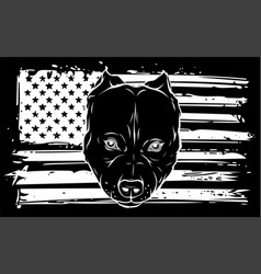 White silhouette head bully dog with american vector