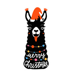 with llama in red hat colored garland vector image
