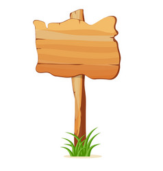 Wooden signpost in grass isolated icon vector