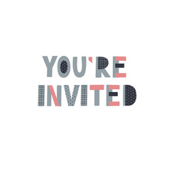You are invited party lettering card vector