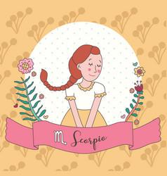 Cute horoscope zodiac girl scorpio vector