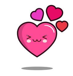 emoticon cute love heart cartoon character icon vector image vector image
