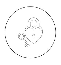 Lock and key icon in outline style isolated on vector