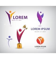set of man human leadership logos icons vector image