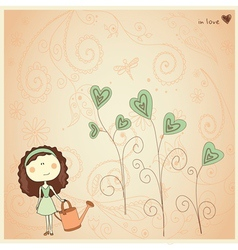 Valentine card with cute little girl vector