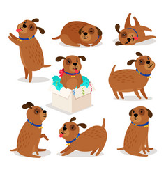 brown funny cartoon puppies vector image