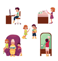 kids children home activities doing chores vector image vector image