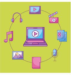laptop video movie music social media multimedia vector image