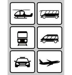 set icons with transport black silhouette vector image vector image