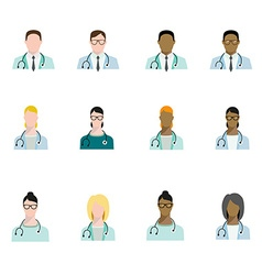 Set of doctor avatars profession basic characters vector image vector image