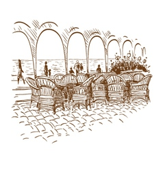 Hand drawn cafe vector image