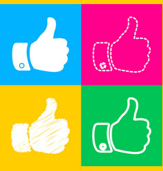 hand sign four styles of icon on vector image vector image