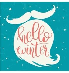 Hello winter hand lettering on santa beard vector
