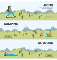 Hiking camping and outdoor leisure banners vector image