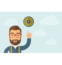 Man pointing the target pad vector