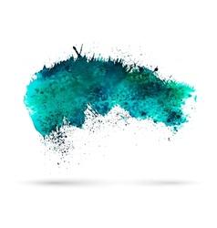 Aquamarine watercolor splash Template for your vector image