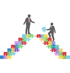 Business people join connect puzzle bridge vector image