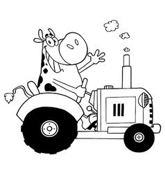 Cartoon cow on tractor vector image