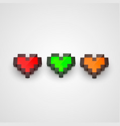 colorful pixel isometric hearts clean vector image