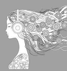 girl half-face with loose hair and abstract vector image vector image