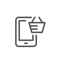 mobile purchasing line icon vector image