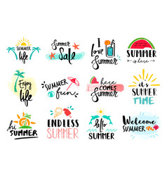 summer quote set typography hand drawn decoration vector image