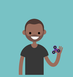 young black character spinning a hand toy stress vector image