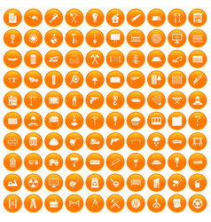 100 building materials icons set orange vector