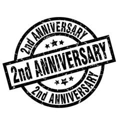 2nd anniversary round grunge black stamp vector