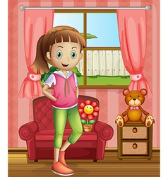 A cute young girl inside house vector