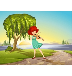 A talented girl with a violin vector image