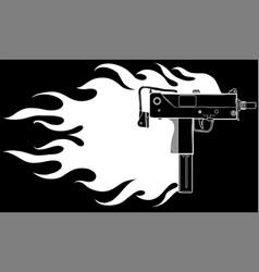 a uzi gun with flames vector image