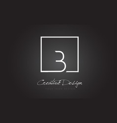 b square frame letter logo design with black and vector image