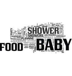baby shower food what and how to serve text word vector image